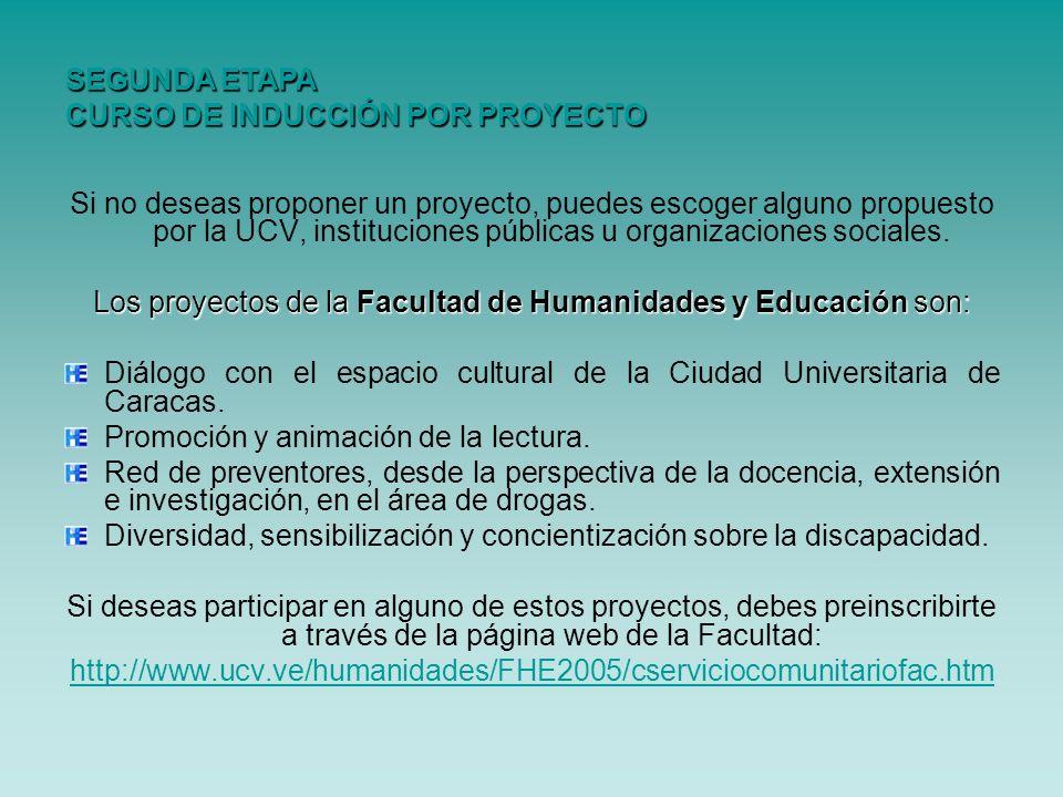 Los proyectos de la Facultad de Humanidades y Educación son: