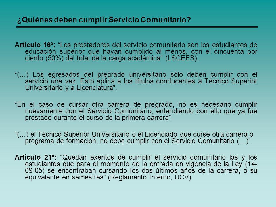 ¿Quiénes deben cumplir Servicio Comunitario