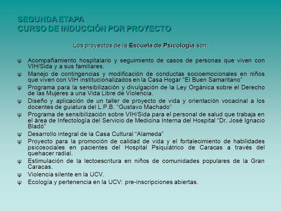 Los proyectos de la Escuela de Psicología son: