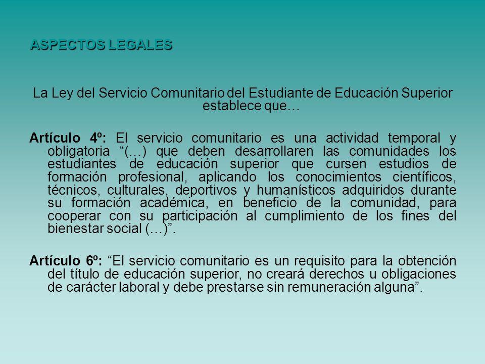 ASPECTOS LEGALES La Ley del Servicio Comunitario del Estudiante de Educación Superior establece que…