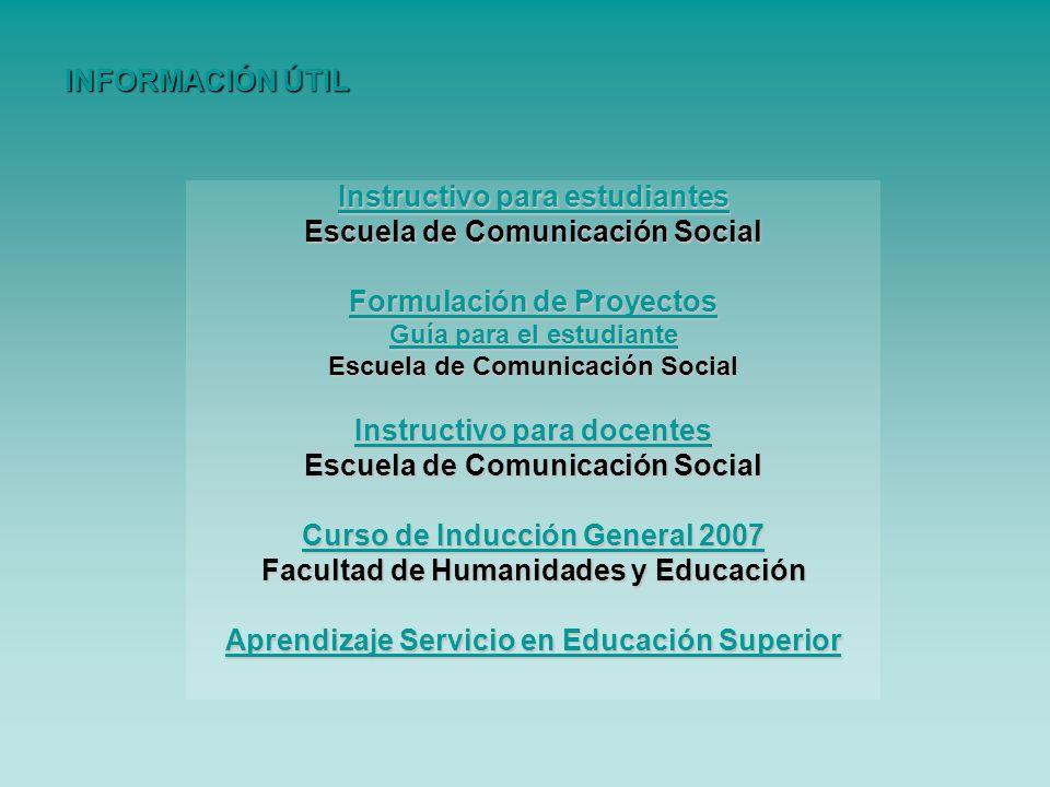 Instructivo para estudiantes Escuela de Comunicación Social