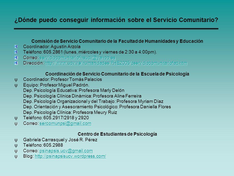 ¿Dónde puedo conseguir información sobre el Servicio Comunitario