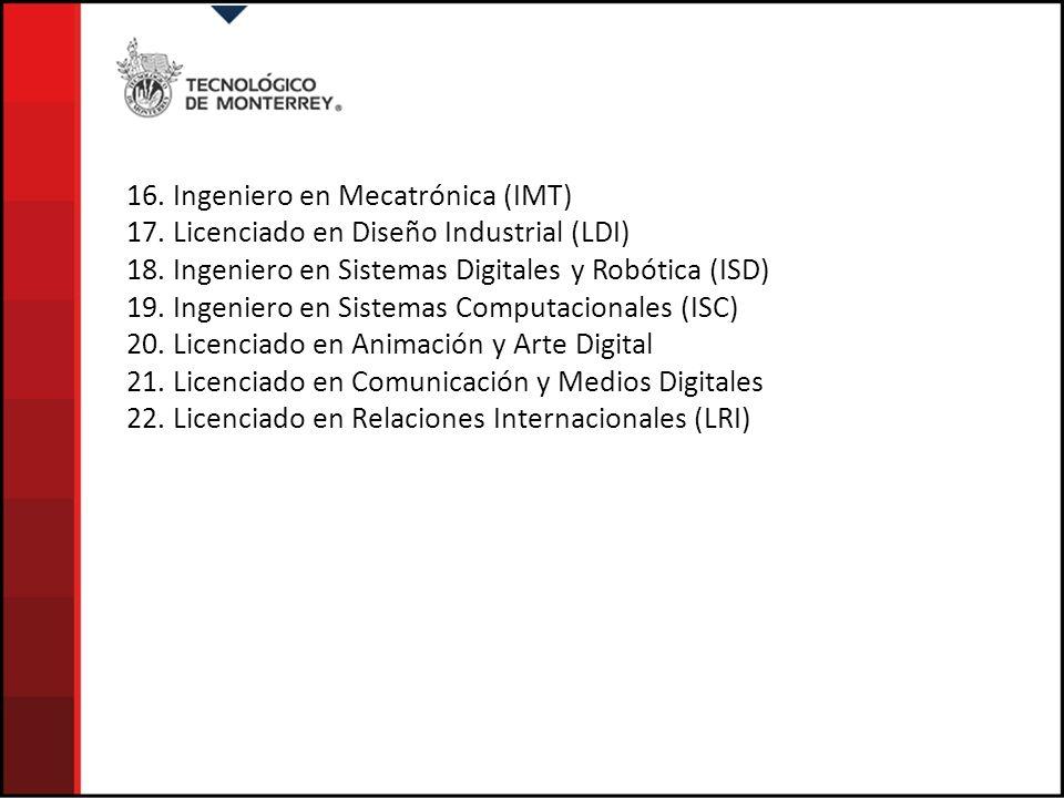 16. Ingeniero en Mecatrónica (IMT)