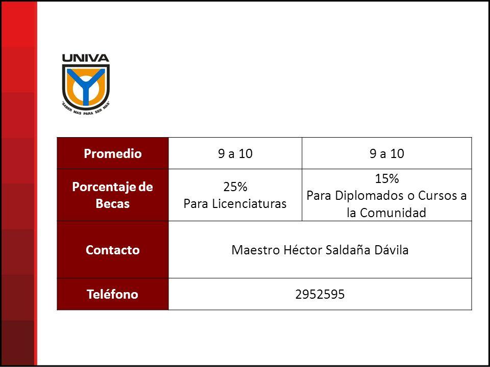 Promedio Porcentaje de Becas Contacto Teléfono
