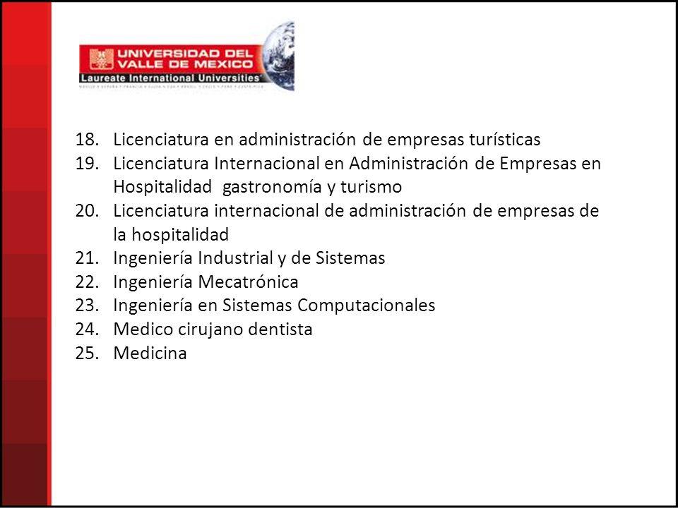 18. Licenciatura en administración de empresas turísticas