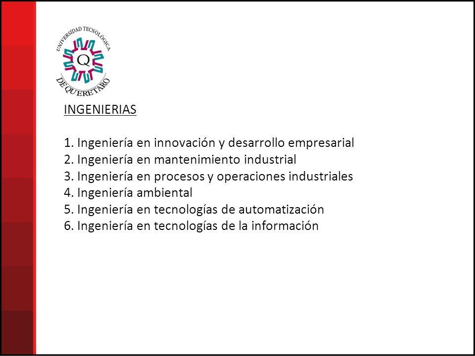 INGENIERIAS 1. Ingeniería en innovación y desarrollo empresarial. 2. Ingeniería en mantenimiento industrial.