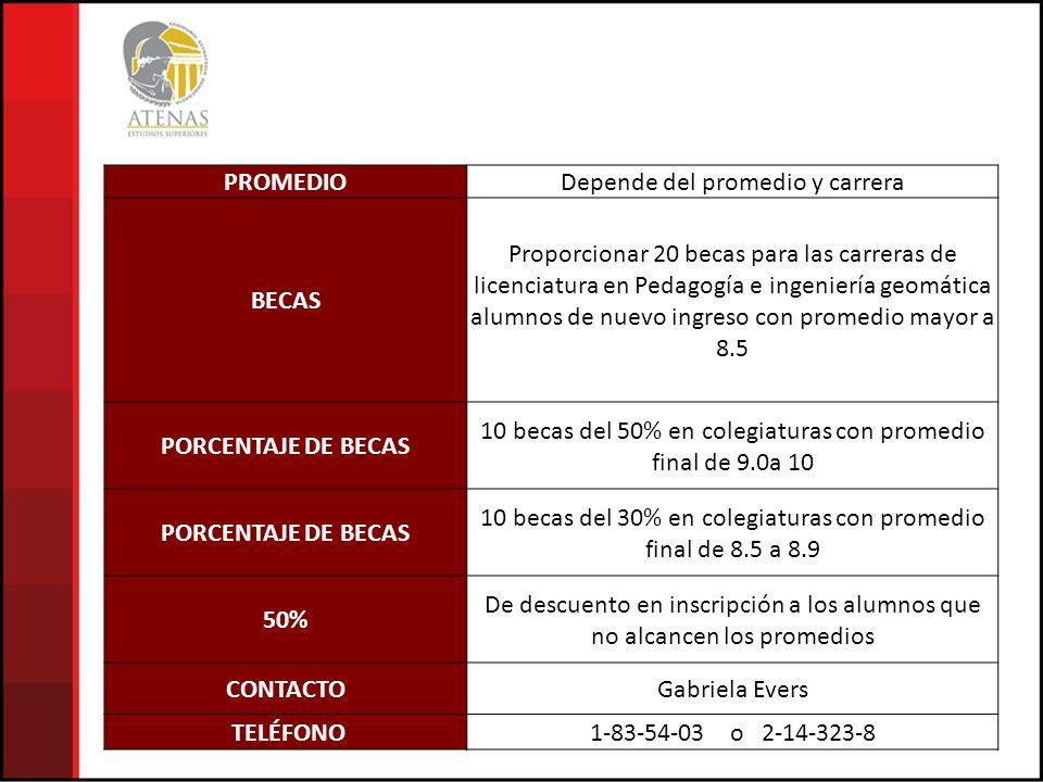 PROMEDIO BECAS PORCENTAJE DE BECAS 50% CONTACTO TELÉFONO