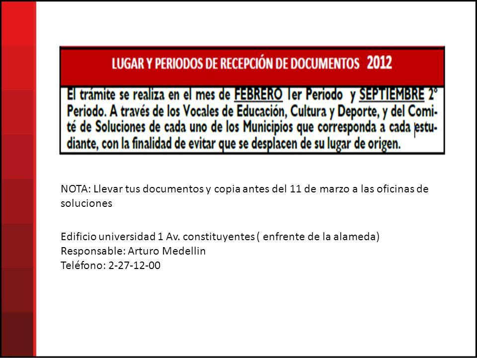 NOTA: Llevar tus documentos y copia antes del 11 de marzo a las oficinas de soluciones