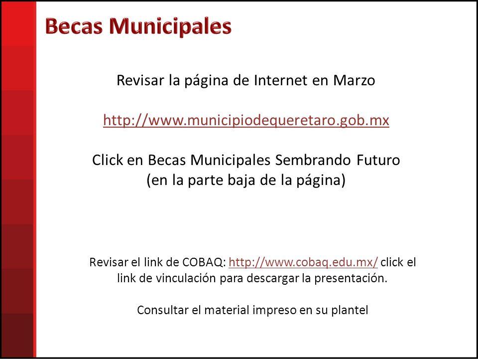 Becas Municipales Revisar la página de Internet en Marzo