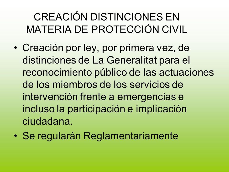 CREACIÓN DISTINCIONES EN MATERIA DE PROTECCIÓN CIVIL
