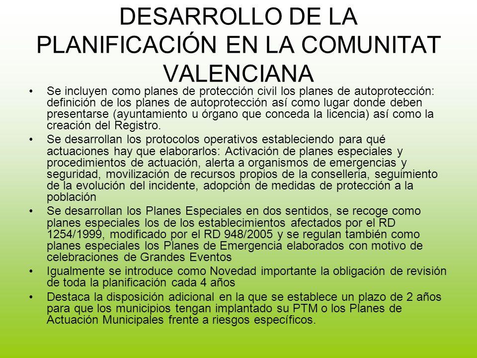 DESARROLLO DE LA PLANIFICACIÓN EN LA COMUNITAT VALENCIANA