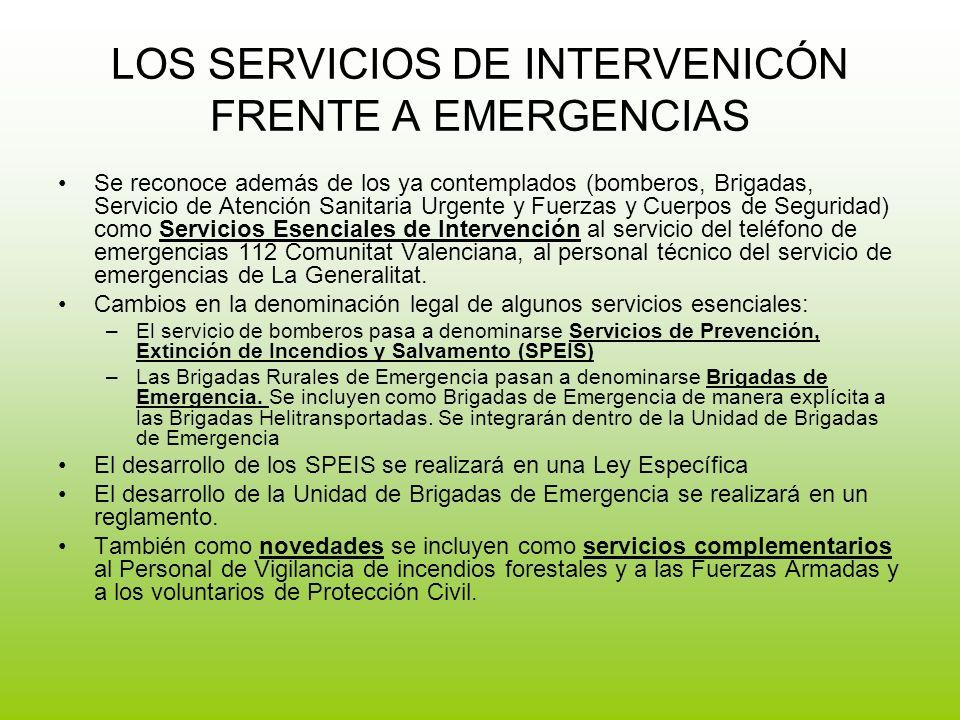 LOS SERVICIOS DE INTERVENICÓN FRENTE A EMERGENCIAS