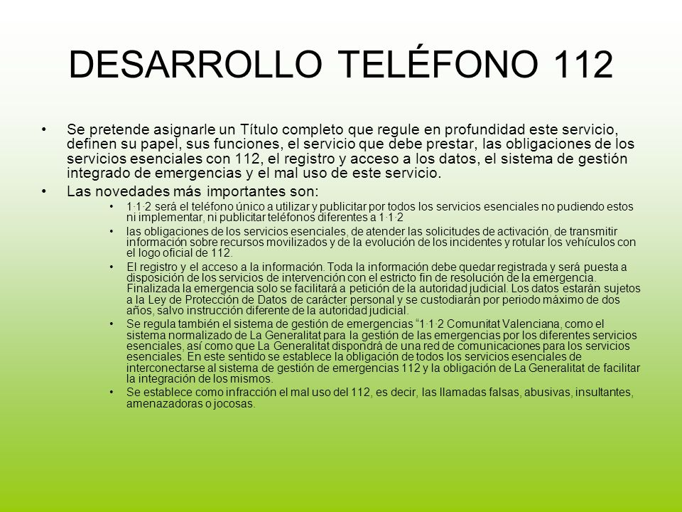 DESARROLLO TELÉFONO 112