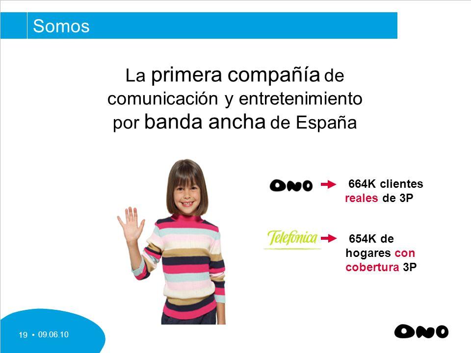 Somos La primera compañía de comunicación y entretenimiento por banda ancha de España. 664K clientes reales de 3P.