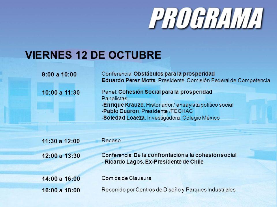 VIERNES 12 DE OCTUBRE 9:00 a 10:00 10:00 a 11:30 11:30 a 12:00