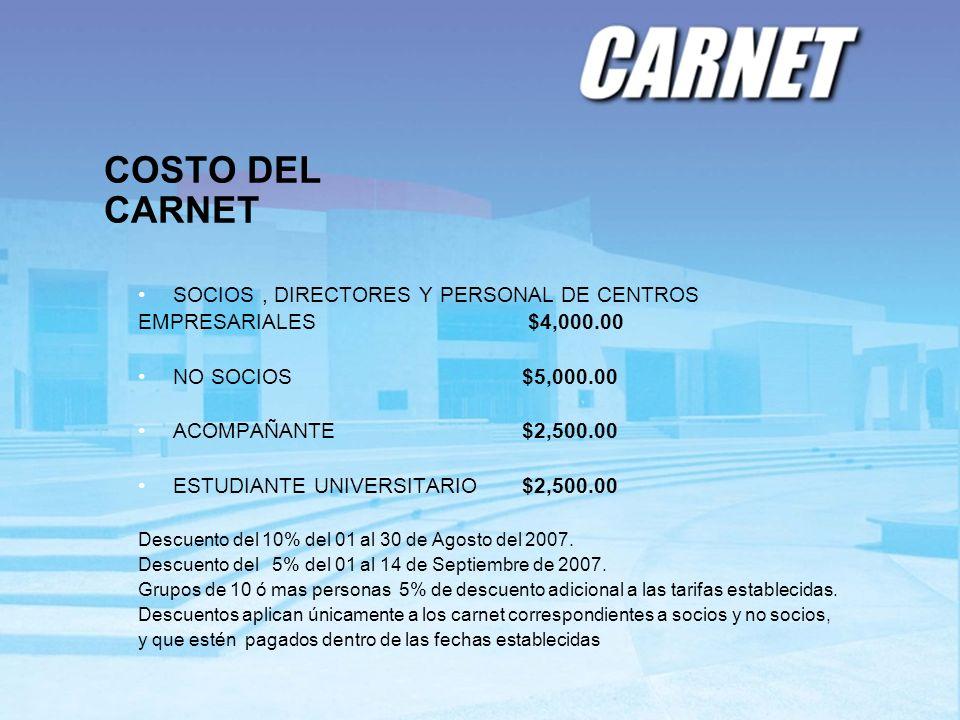 COSTO DEL CARNET SOCIOS , DIRECTORES Y PERSONAL DE CENTROS