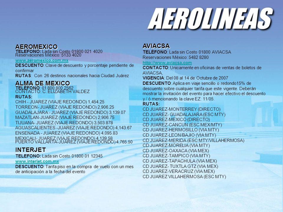 AVIACSA AEROMEXICO ALMA DE MEXICO INTERJET