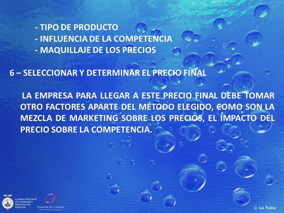 - TIPO DE PRODUCTO - INFLUENCIA DE LA COMPETENCIA. - MAQUILLAJE DE LOS PRECIOS. 6 – SELECCIONAR Y DETERMINAR EL PRECIO FINAL.