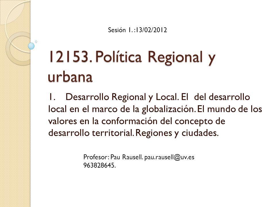 12153. Política Regional y urbana
