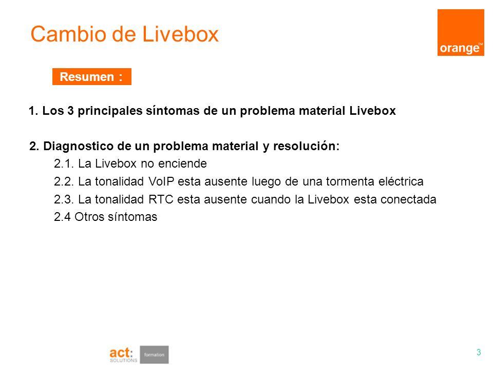 Resumen :1. Los 3 principales síntomas de un problema material Livebox. 2. Diagnostico de un problema material y resolución: