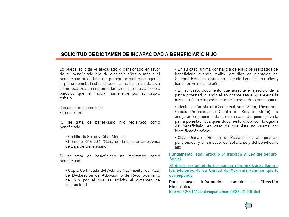 SOLICITUD DE DICTAMEN DE INCAPACIDAD A BENEFICIARIO HIJO