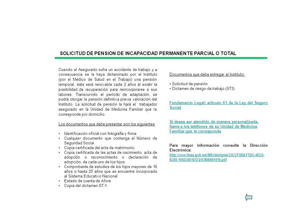 SOLICITUD DE PENSION DE INCAPACIDAD PERMANENTE PARCIAL O TOTAL