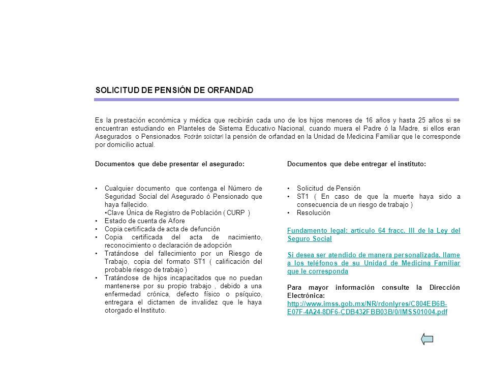 SOLICITUD DE PENSIÓN DE ORFANDAD