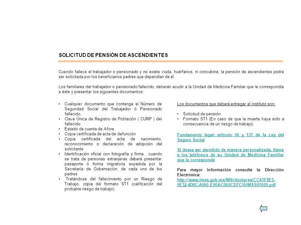 SOLICITUD DE PENSIÓN DE ASCENDIENTES