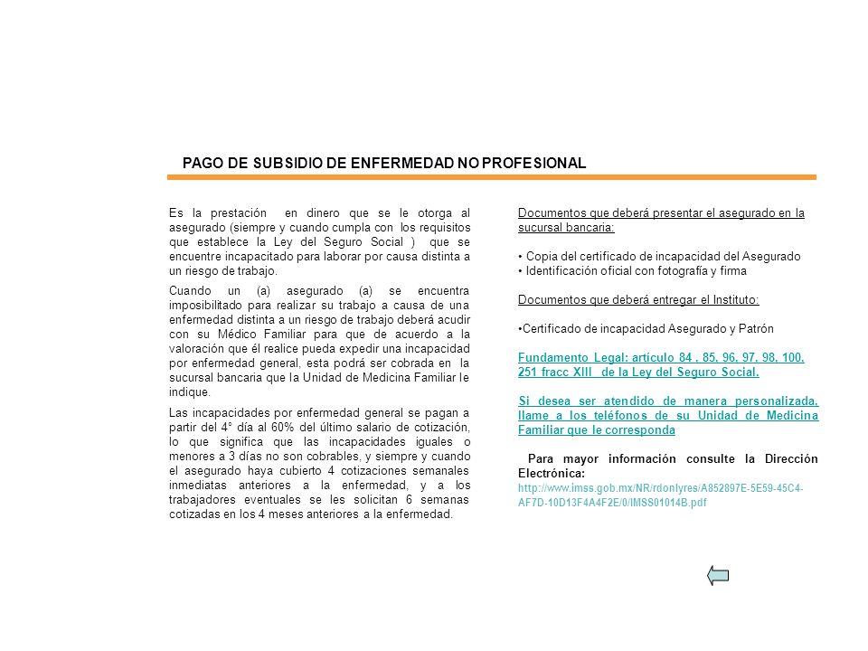 PAGO DE SUBSIDIO DE ENFERMEDAD NO PROFESIONAL
