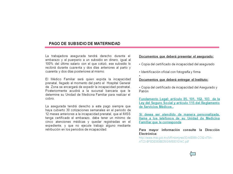 PAGO DE SUBSIDIO DE MATERNIDAD