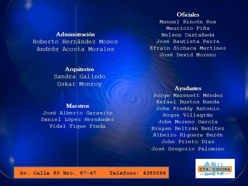 Oficiales Administración Arquitectos Ayudantes Maestros