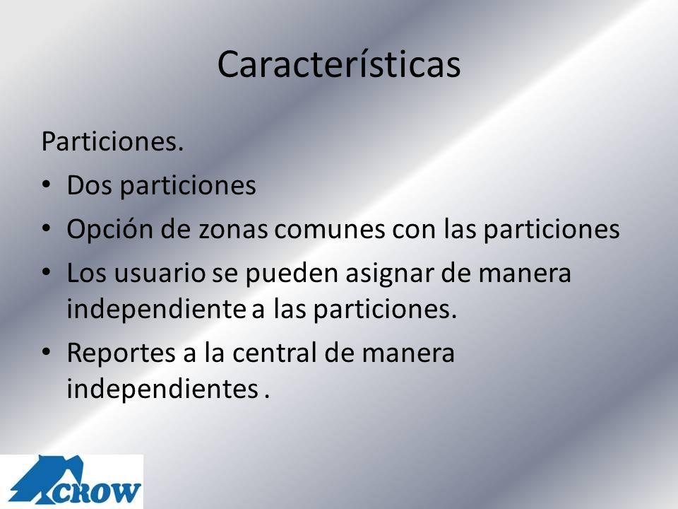 Características Particiones. Dos particiones