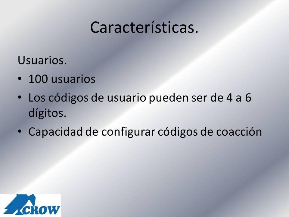 Características. Usuarios. 100 usuarios