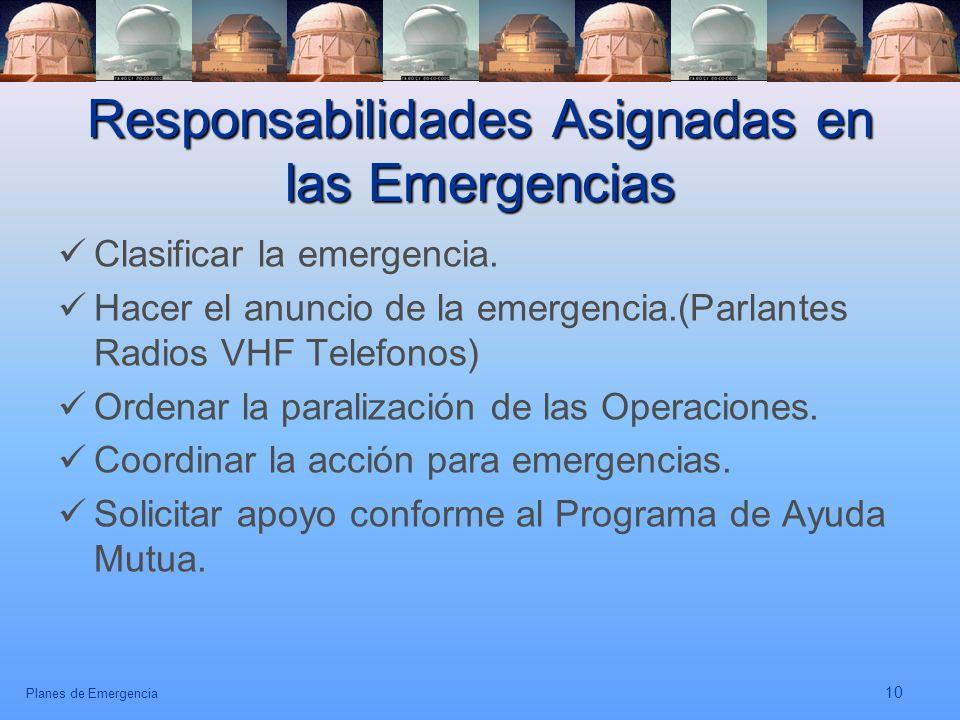 Responsabilidades Asignadas en las Emergencias
