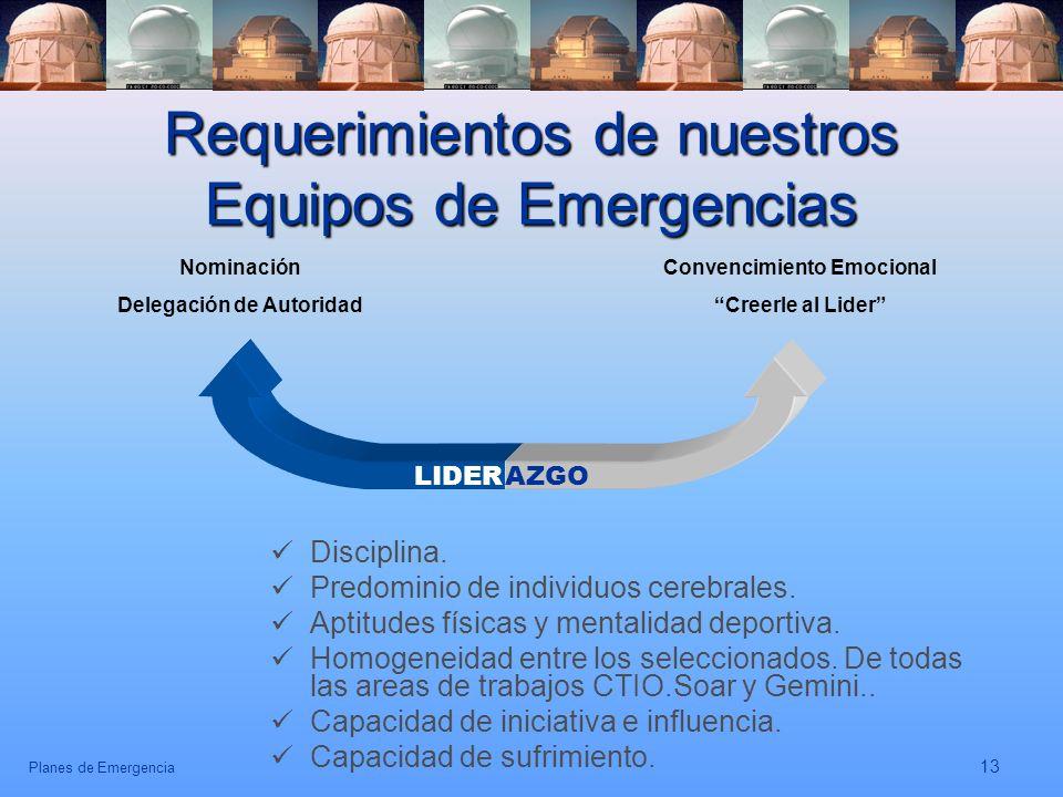 Requerimientos de nuestros Equipos de Emergencias
