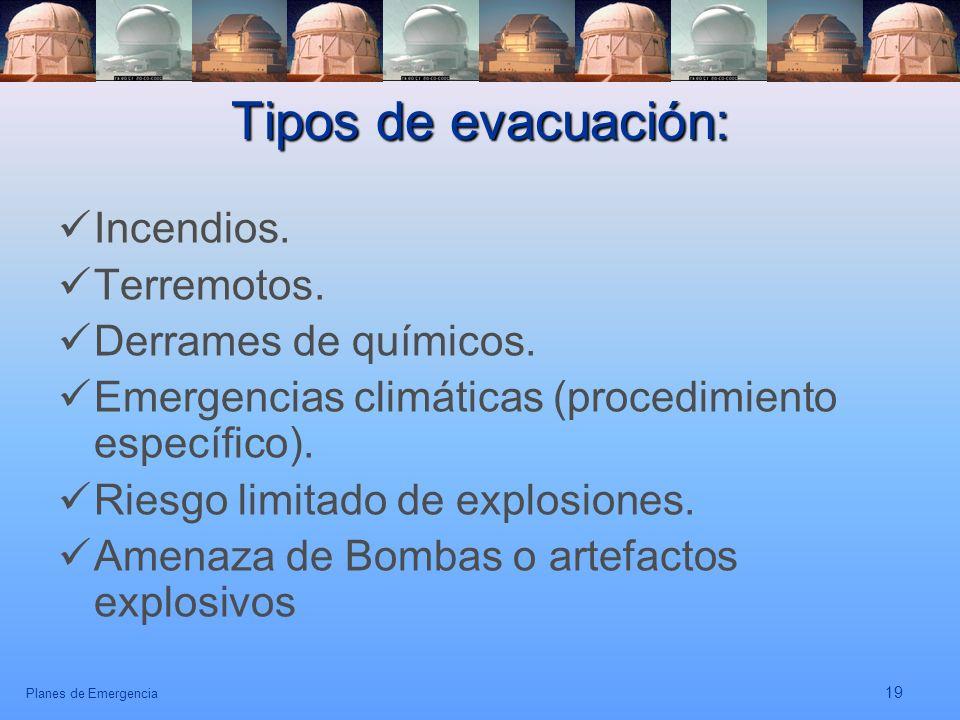 Tipos de evacuación: Incendios. Terremotos. Derrames de químicos.