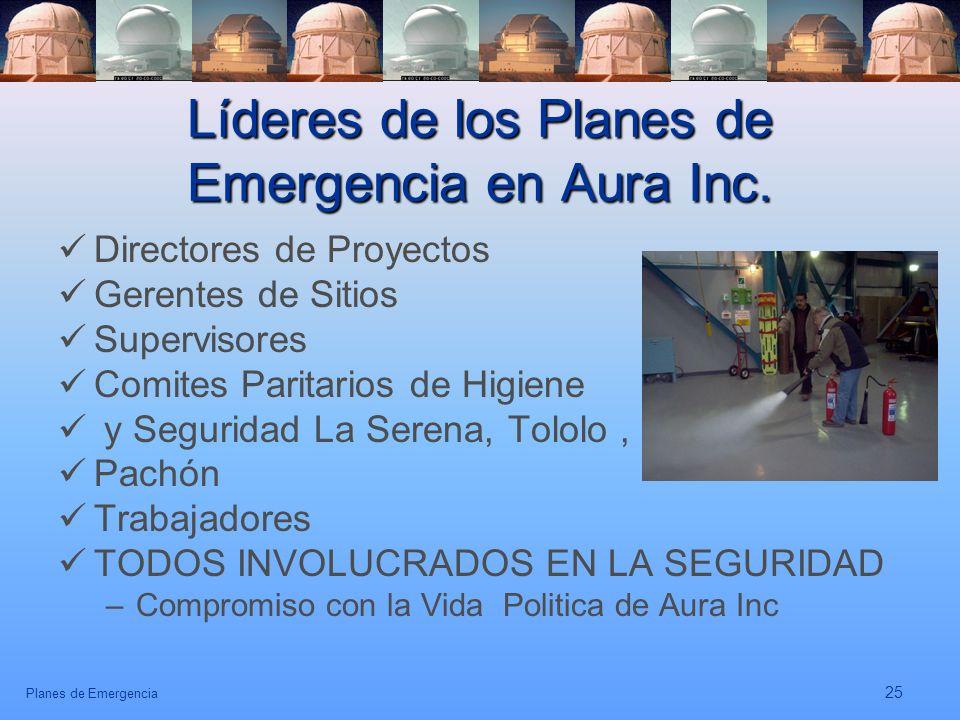 Líderes de los Planes de Emergencia en Aura Inc.
