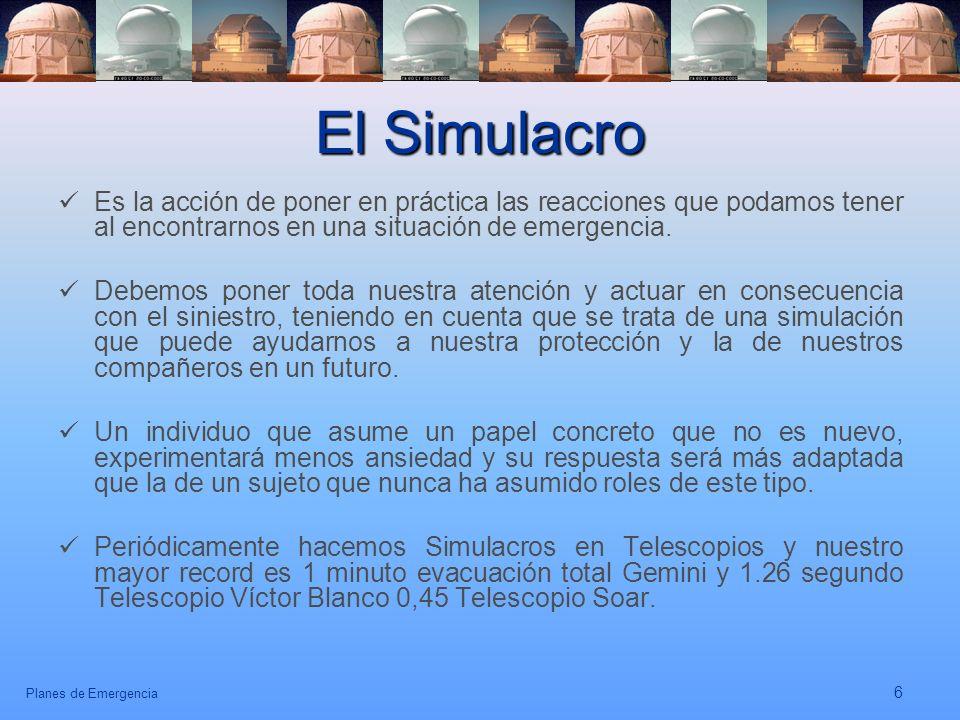 El Simulacro Es la acción de poner en práctica las reacciones que podamos tener al encontrarnos en una situación de emergencia.