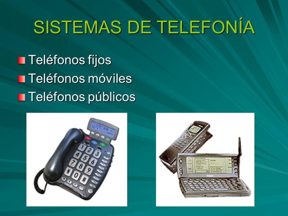 SISTEMAS DE TELEFONÍA Teléfonos fijos Teléfonos móviles