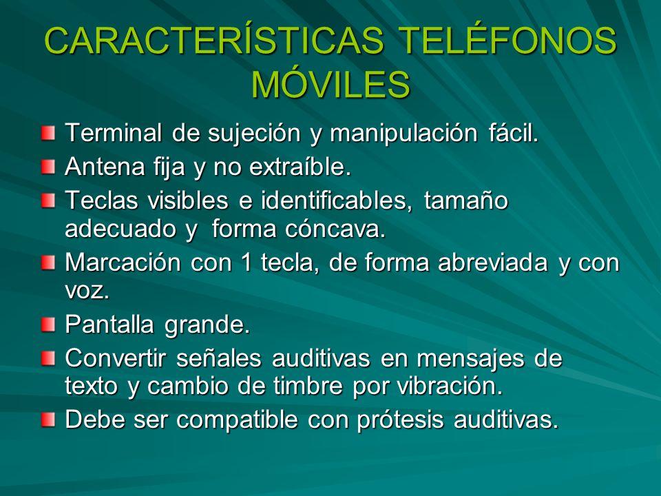 CARACTERÍSTICAS TELÉFONOS MÓVILES
