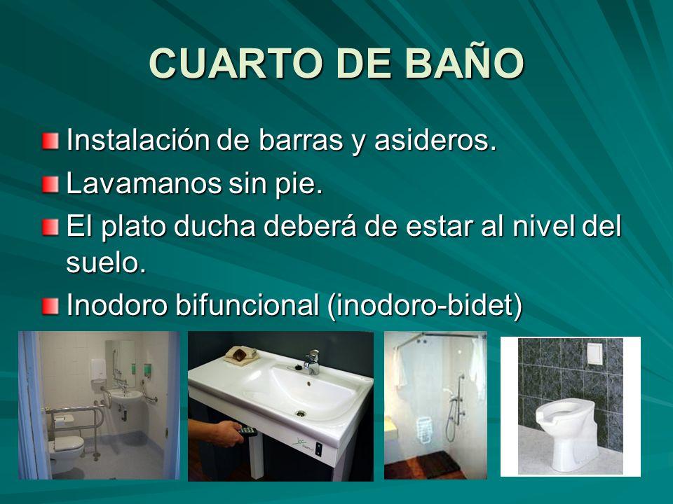 CUARTO DE BAÑO Instalación de barras y asideros. Lavamanos sin pie.