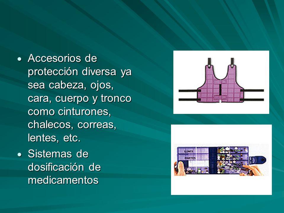 Accesorios de protección diversa ya sea cabeza, ojos, cara, cuerpo y tronco como cinturones, chalecos, correas, lentes, etc.