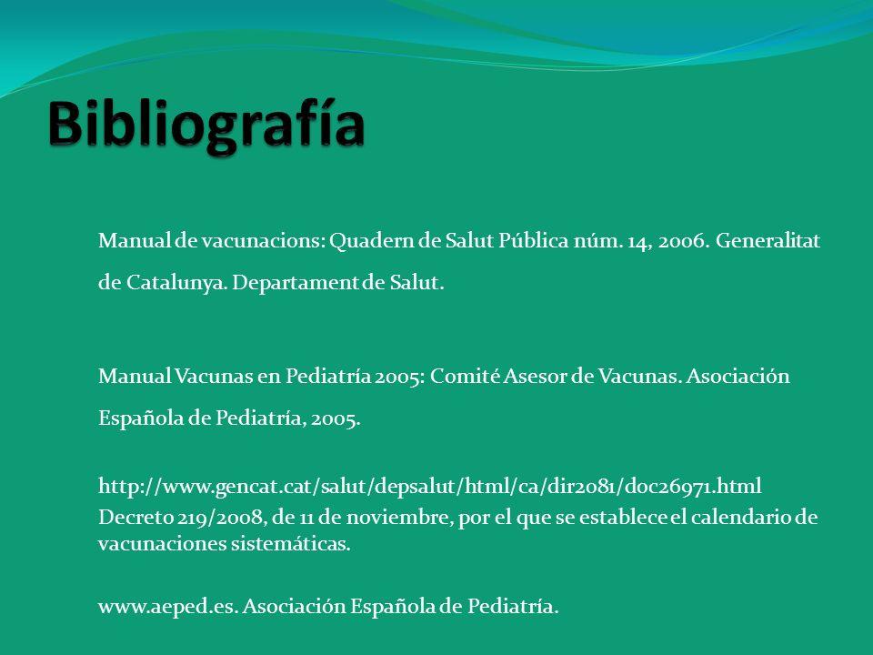 Bibliografía Manual de vacunacions: Quadern de Salut Pública núm. 14, 2006. Generalitat de Catalunya. Departament de Salut.
