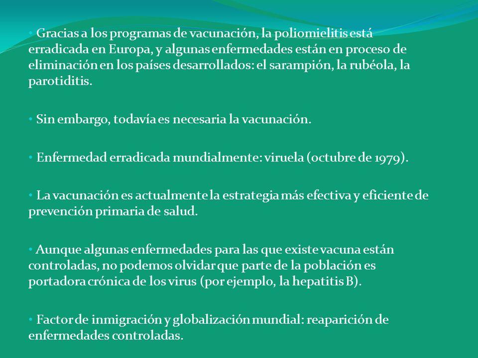 Gracias a los programas de vacunación, la poliomielitis está erradicada en Europa, y algunas enfermedades están en proceso de eliminación en los países desarrollados: el sarampión, la rubéola, la parotiditis.
