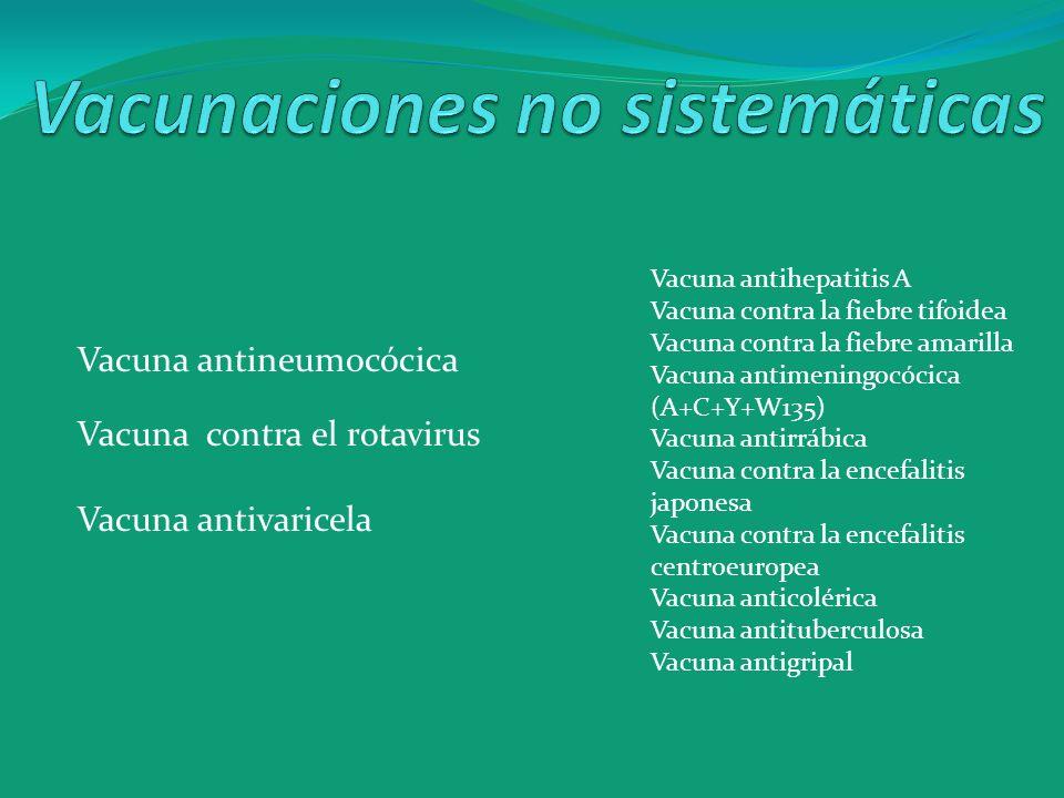Vacunaciones no sistemáticas