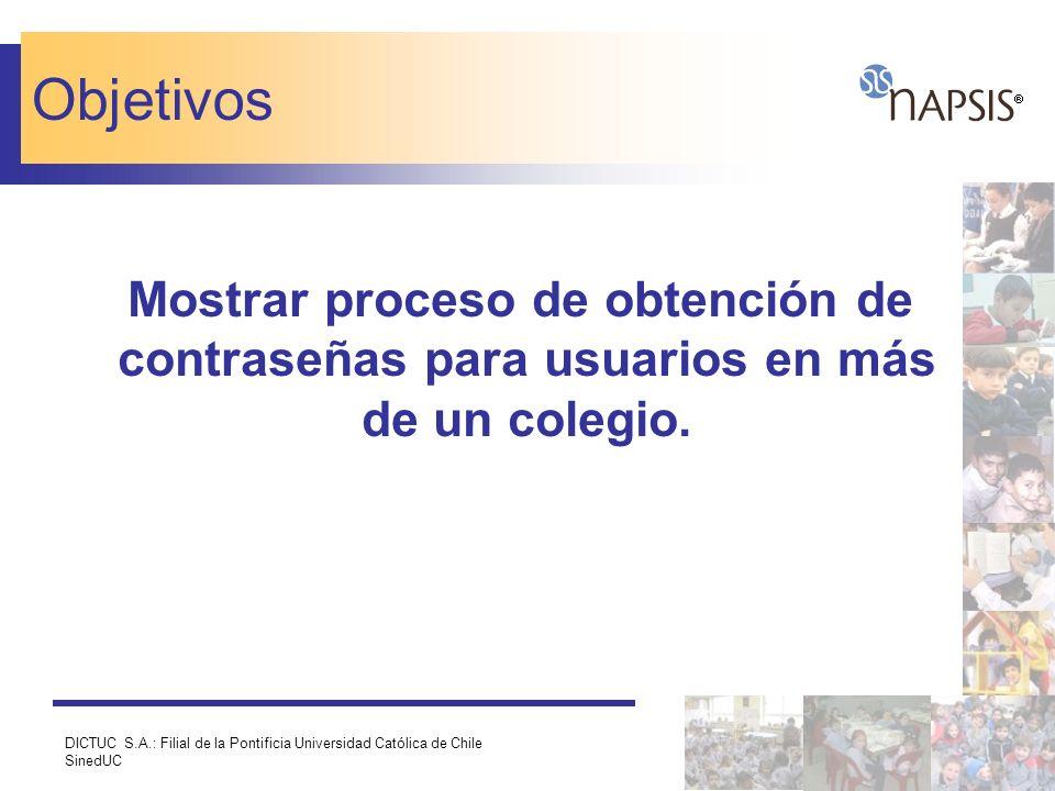 Objetivos Mostrar proceso de obtención de contraseñas para usuarios en más de un colegio.