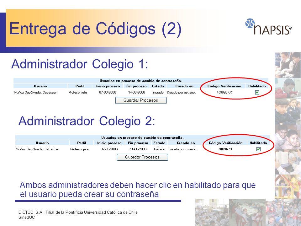 Entrega de Códigos (2) Administrador Colegio 1: