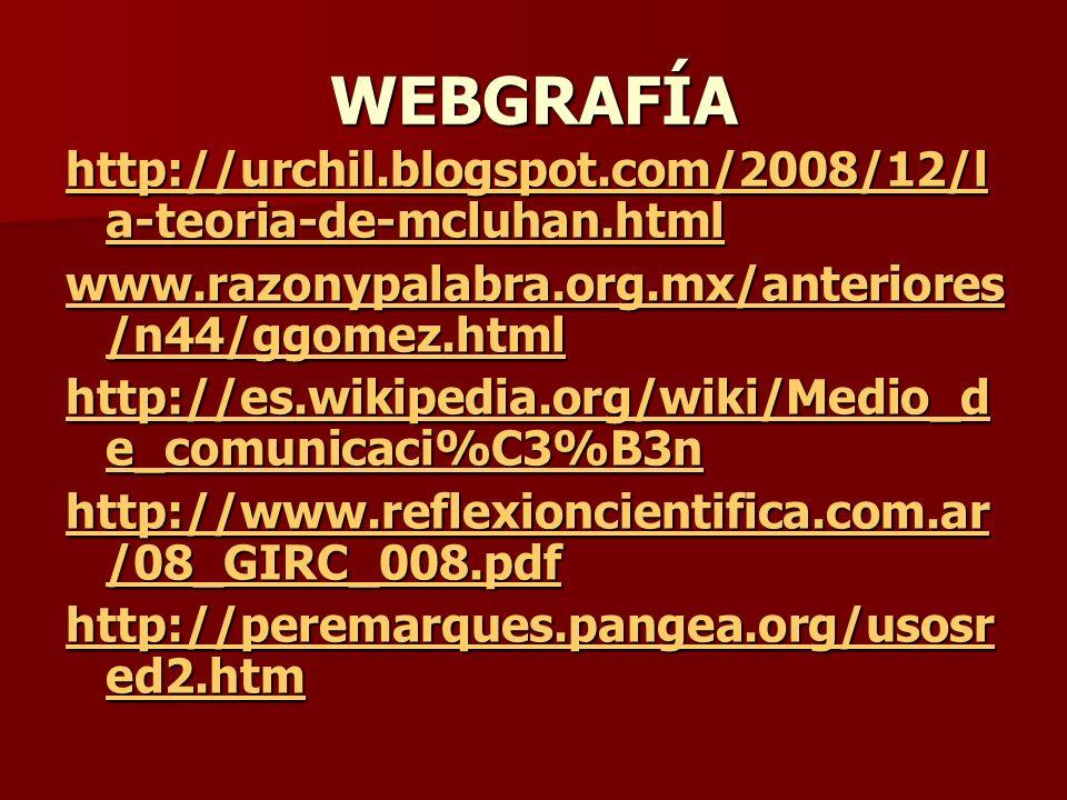 WEBGRAFÍA http://urchil.blogspot.com/2008/12/la-teoria-de-mcluhan.html