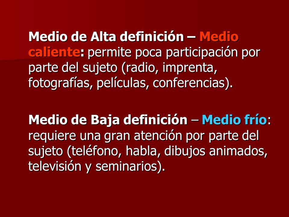 Medio de Alta definición – Medio caliente: permite poca participación por parte del sujeto (radio, imprenta, fotografías, películas, conferencias).