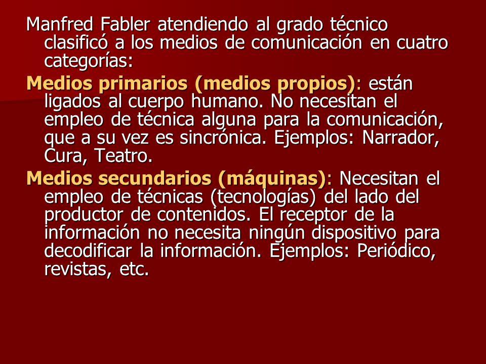 Manfred Fabler atendiendo al grado técnico clasificó a los medios de comunicación en cuatro categorías: